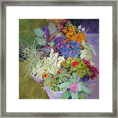 Flowers In The Courtyard Framed Print