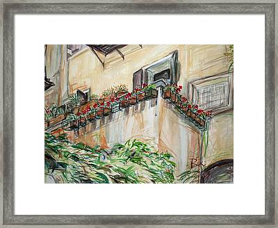 Framed Print featuring the painting Flowers In The Pots by Becky Kim