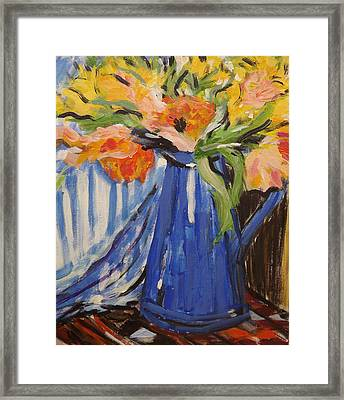 Flowers In Vase Framed Print by Andrea Kucza