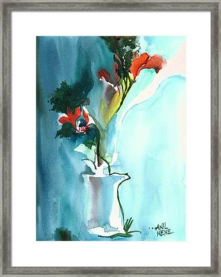 Flowers In Vase Framed Print by Anil Nene
