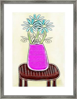 Flowers In Vase - Digital Artwork Framed Print by Gina Lee Manley