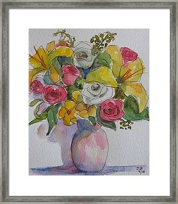 Vase With Flowers  Framed Print by Janet Butler