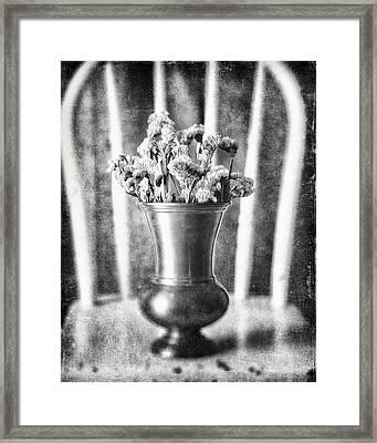 Flowers In Vase Still Life In Black And White Framed Print