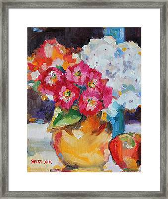 Flowers In Yellow Vase With An Apple Framed Print by Becky Kim