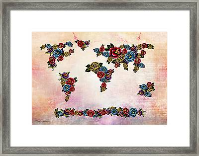 Flowers Map  Framed Print