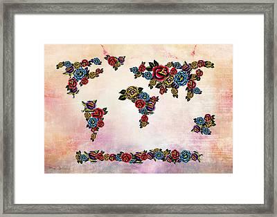Flowers Map  Framed Print by Mark Ashkenazi