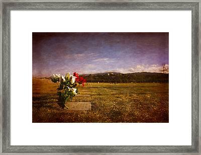 Flowers On Memorial Framed Print by Dave Garner