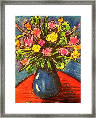 Flowers On Red Table Framed Print