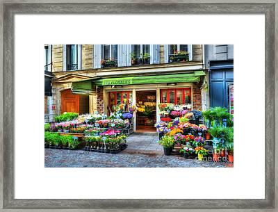 Flowers On Rue Cler Framed Print by Mel Steinhauer