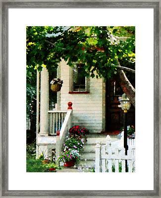 Flowers On Steps Framed Print by Susan Savad