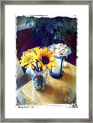 Flowers On Table Framed Print by Gerry Robins