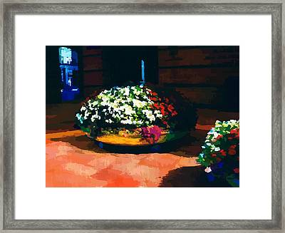 Flowers On The Canal Framed Print