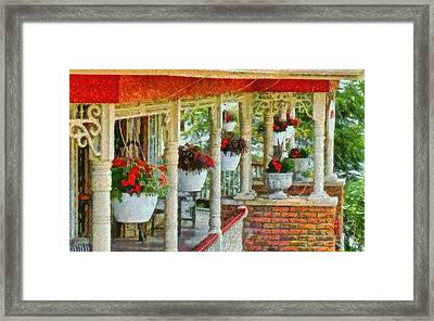 Flowers On The Front Porch Framed Print by Dan Sproul