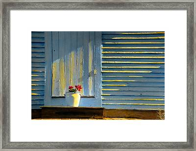 Flowers On The Porch Framed Print by Cindy McIntyre