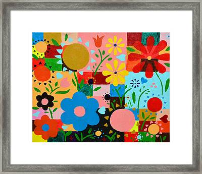 Flowers On The Quilt Framed Print