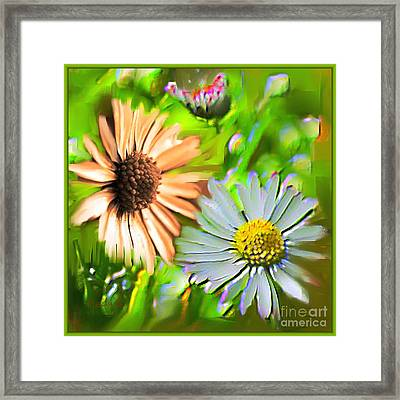 Flowers Orange And Blue Framed Print by Nedunseralathan R