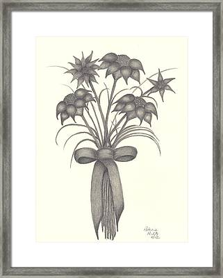 Framed Print featuring the drawing Flowers by Patricia Hiltz