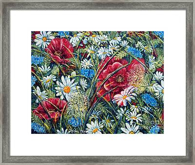 Flowers Poppies And Daisies No.5 Framed Print by Drinka Mercep