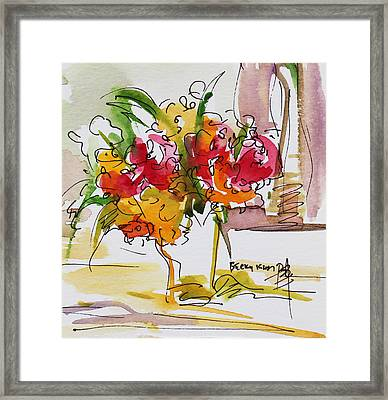 Flowers Red And Yellow Framed Print by Becky Kim