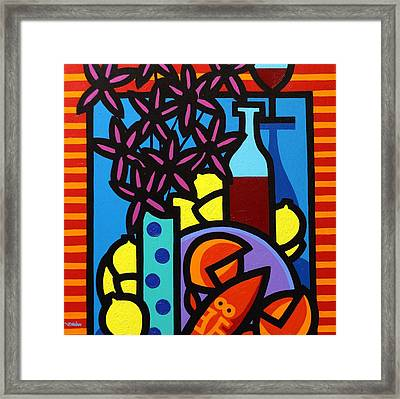 Flowers Wine Lobster And Lemons Framed Print by John  Nolan