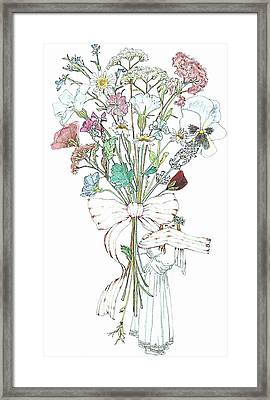 Flowers With A Girl And A Bow Framed Print by Janet Ashworth