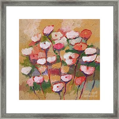 Flowers With Beige Framed Print by Lutz Baar