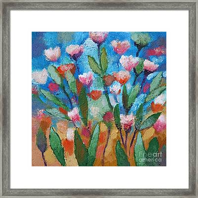 Flowers With Blue Framed Print by Lutz Baar