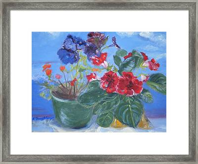 Flowers With The Sky  Framed Print by Patricia Kimsey Bollinger