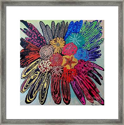Framed Print featuring the painting Flowers Burst By Jasna Gopic by Jasna Gopic
