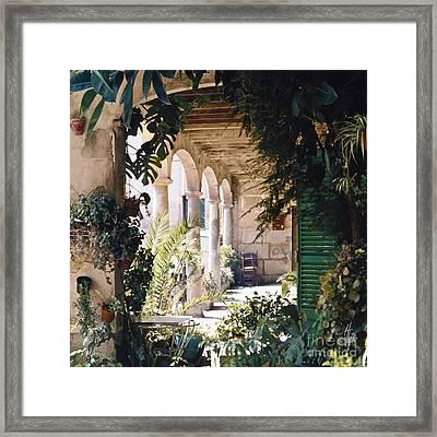 Flowery Majorquin  Patio In Valdemosa Framed Print by Heiko Koehrer-Wagner
