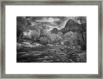 Flowing River In Zion Framed Print by Andrew Soundarajan