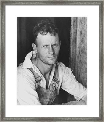 Floyd Burroughs Cotton Sharecropper Hale County Alabama Framed Print by Historic Photos