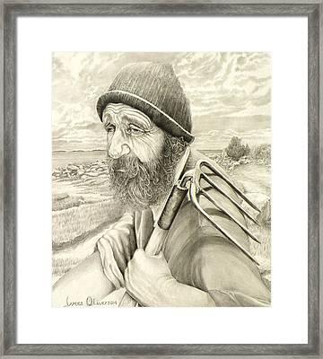 Floyd Morris The Clam Digger  Framed Print by James Oliver