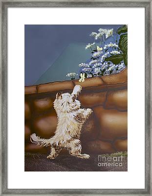 Fluff And Flutter Framed Print by Linda Simon
