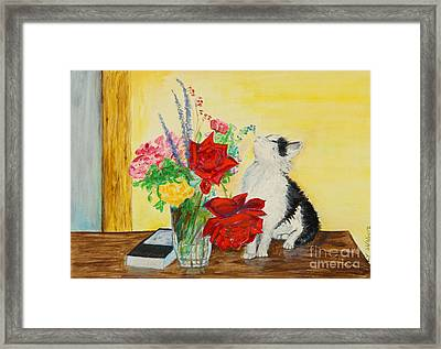 Fluff Smells The Lavender- Painting Framed Print by Veronica Rickard