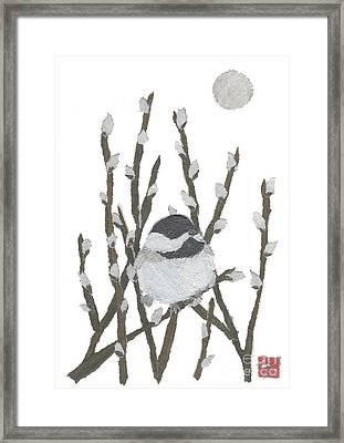 Chickadee Art Hand-torn Newspaper Collage Art By Keiko Suzuki Bless Hue Framed Print by Keiko Suzuki
