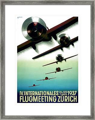 Flugmeeting Zurich Advertising Poster Framed Print