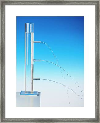 Fluid Pressure Demonstration Framed Print by Science Photo Library