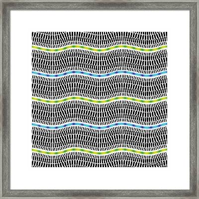 Fluorescent Waves Framed Print