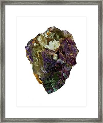 Fluorite Crystal Specimen Framed Print by Natural History Museum, London/science Photo Library