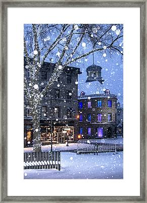 Framed Print featuring the photograph Flurries In Quebec City by Arkady Kunysz