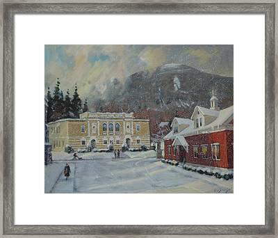 Flurries Over Mount Greylock Framed Print