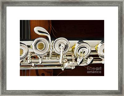 Flute Music Instrument Keys Photograph In Color 3445.02 Framed Print by M K  Miller