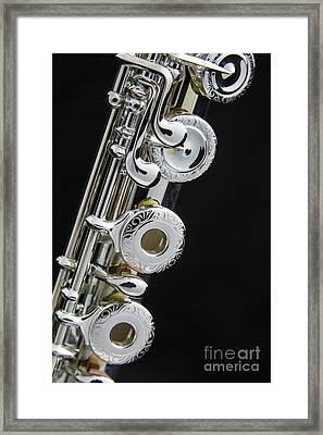 Flute Music Instrument Keys Photograph In Color 3449.02 Framed Print