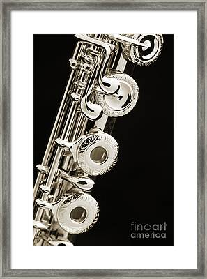 Flute Music Instrument Keys Photograph In Sepia 3449.01 Framed Print