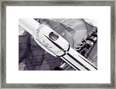Flute Music Instrument Lip Plate Black And White  3442.03 Framed Print