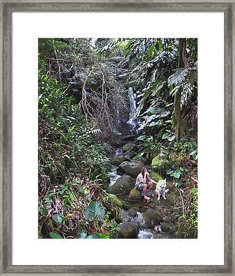 Flute Player And Dog - Big Island Hawaii Framed Print