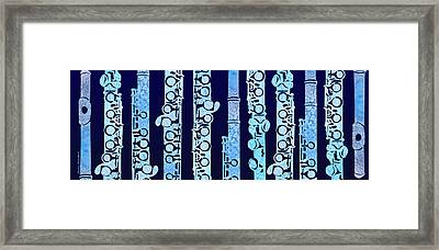 Flutes In Blue Framed Print