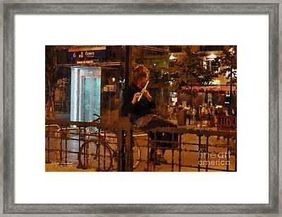Flutist In The Plaza De La Opera Madrid Framed Print