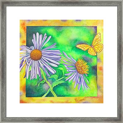 Flutters And Flowers Framed Print by Cynthia Stewart
